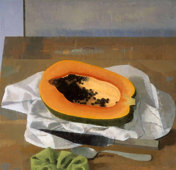 Susan Jane Walp, Papaya on a White Cloth with Knife, Spoon and Green Hair Tie, 2001