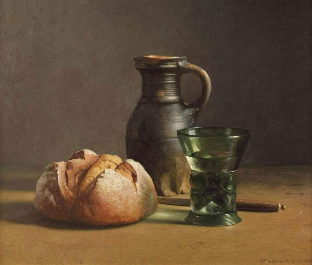 Henk Helmantel, A still life with bread, glass, a jug and a knife, 2008