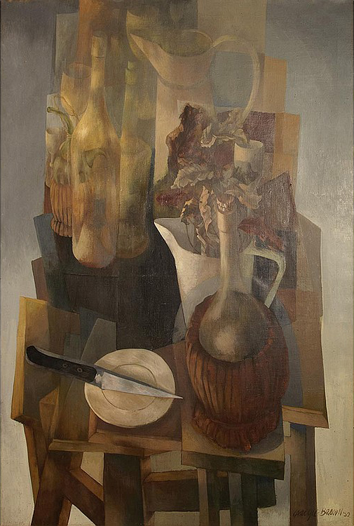Carlyle Brown, 1919-1963, Still Life with a Pitcher of Flowers, Jug and Knife, 1952