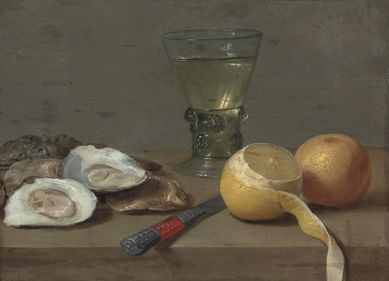 Jacob Foppens van Es, Jacob Foppens van Es (?Antwerp c. 1596-1666 Antwerp) Oysters, a roemer, a partly peeled lemon, an orange and a knife on a stone ledge
