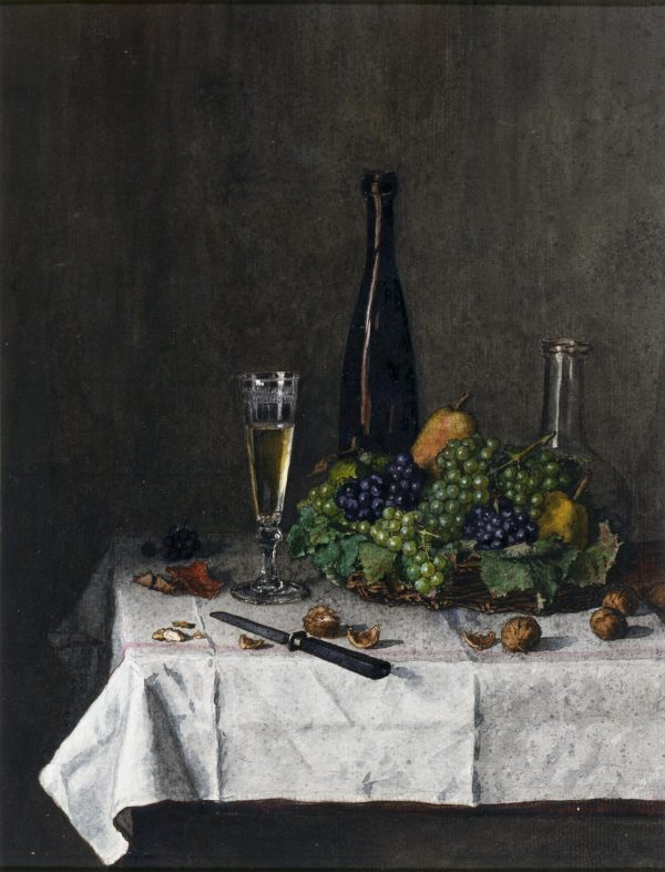 Léon Bonvin, Still Life: Basket of Grapes, Walnuts, and Knife, 1863