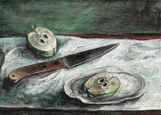 Yosl Bergner, Apples and knife, 1965