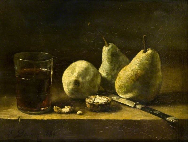 François Bonvin, Still Life with a Glass, Pears and a Knife, 1884