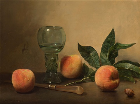 Jan Hendrik Eversen, Still life with a rummer, a knife and three peaches, 1947