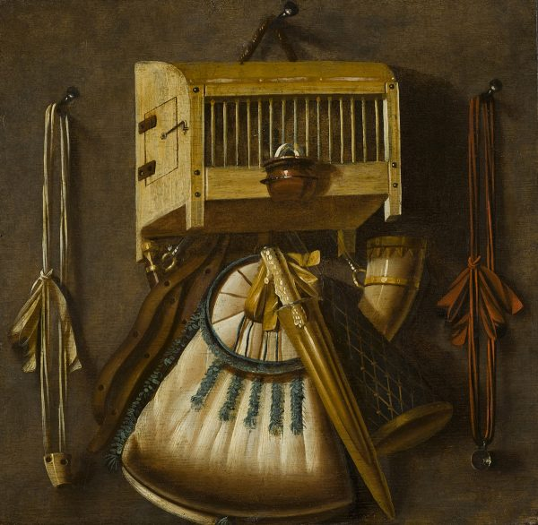 Johannes Leemans, A Trompe l'Oeil Still Life with a Bird Cage, Birdcalls, and a Powder-Bag, 17th century