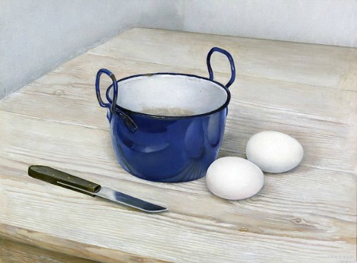 Jan Boon, Still Life with Eggs, Knife and Blue Pan, 1944